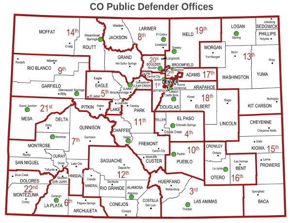 Colorado  Map showing the Colorado County and which Public Defender office represents them.  Also see the County Office List.